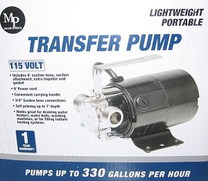 Portable Water Transfer Utility Pump 330 GPH, 115-Volt