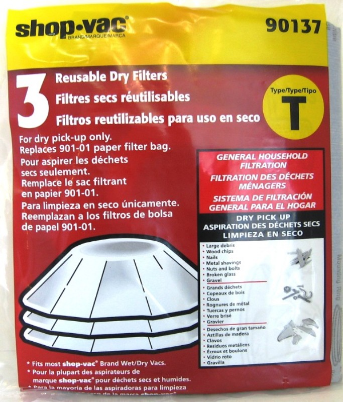90137 Genuine Shop Vac 9013700 Reusable Vacuum Cleaner Wet Dry Disc 3 Filters